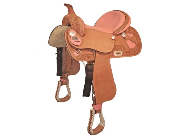 Tahoe Ostrich Print Pink Hearts Barrel Racing Saddle USA Leather
