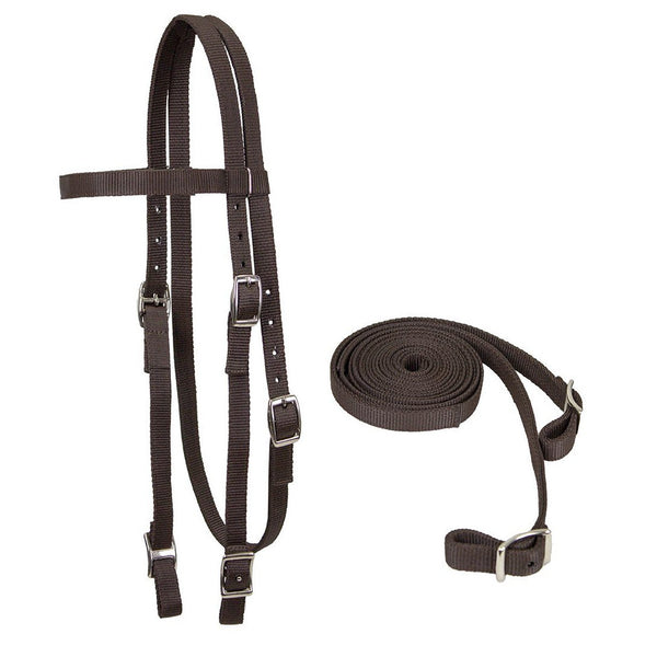 Tahoe Tack Double Layered Nylon Western Headstall with Matching Reins- Multiple Colors Available