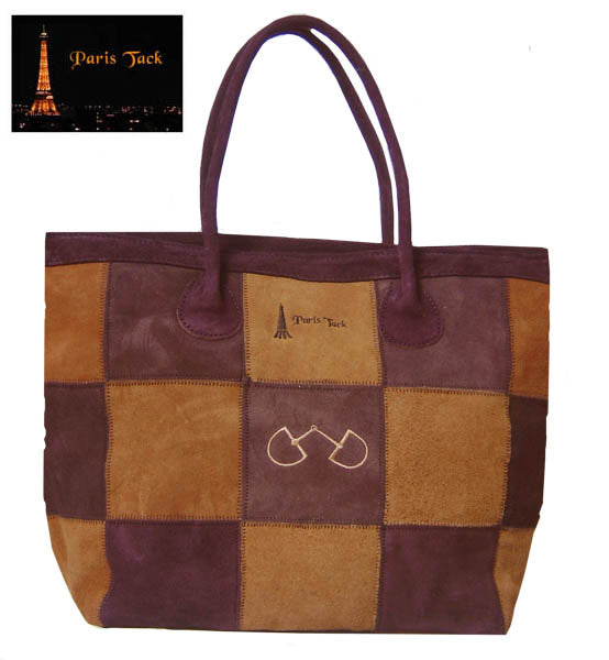 Paris Tack Suede Leather Tote Bag with Bit Design - Close Out