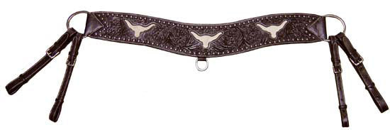 Tahoe Sunspots Floral Tooled Longhorn Inlaid Tripper Collar