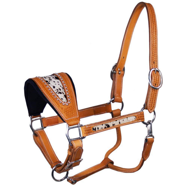 Tahoe Tack USA Leather Spotted Cowhide Inlay Bronc Halter- CLOSEOUT