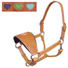 Tahoe Tack Basket Weave USA Leather Heart Inlay Bronc Halter -Four Fun Colors