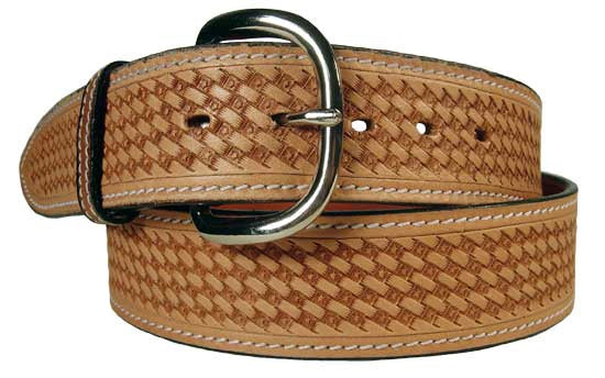 USA Leather Basket Tooled Western Belt with Buckle