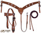 Tahoe Crystal Cross Show Headstall Breast Collar and Reins Set
