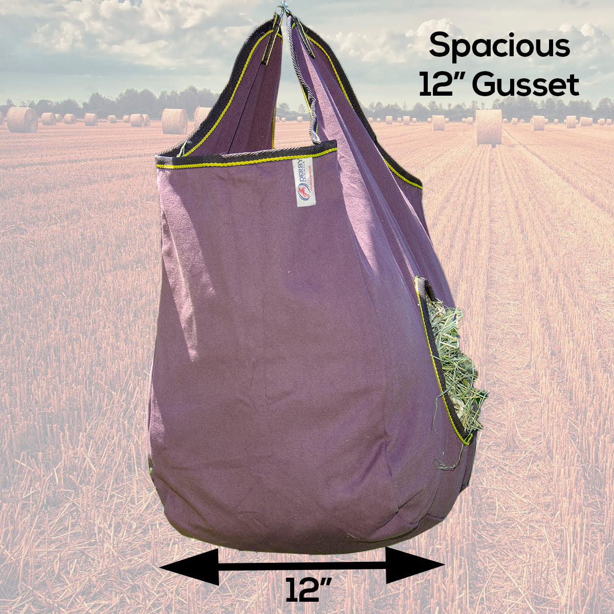 """42/"""" Tough 1 Canvas Hay Bag with 6/"""" Wide Round Feed Hole and Mesh Sides"""