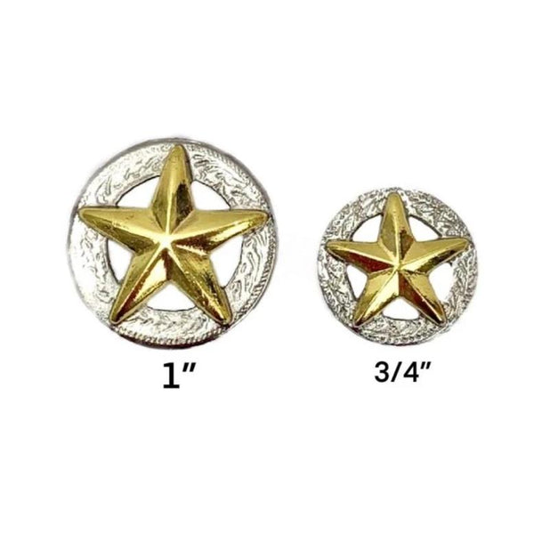 American Gold Star 3D Silver Conchos with Screw Back