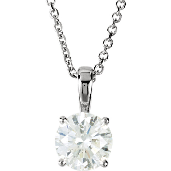 14k White Gold 1 CTW Diamond Solitaire Necklace 18 inch