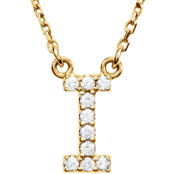 14k Gold 1/10 CTW Diamond Alphabet Initial Letter I Necklace