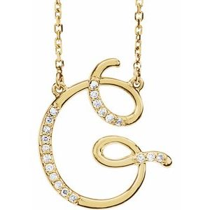 14K Yellow Rose White Gold Diamond Letter G Initial Alphabet Necklace Custom Made To Order