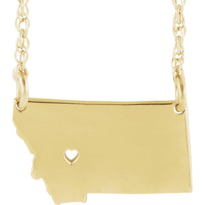 14k Gold 10k Gold Silver Montana State Heart Personalized City Necklace