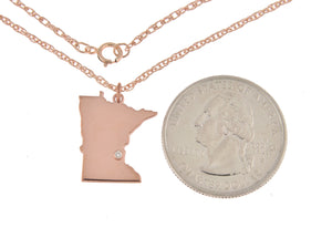 14k Gold 10k Gold Silver Minnesota MN State Map Diamond Personalized City Necklace
