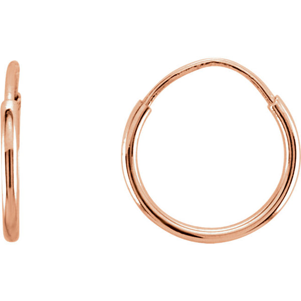14k Rose Gold Round Endless Hoop Earrings 10mm 12mm 15mm 20mm 24mm x 1mm