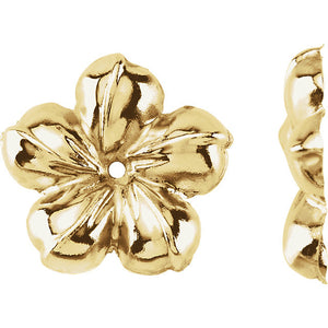 14k Yellow Gold Flower Floral Earring Jackets 13mm