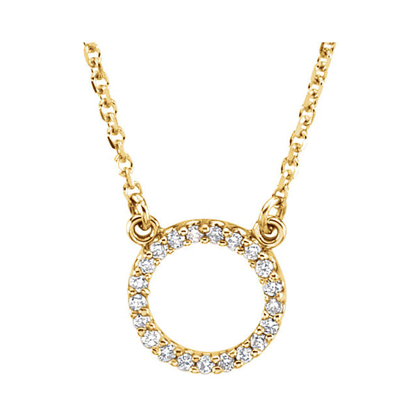14k Yellow White Rose Gold 1/10 CTW Diamond Circle Necklace