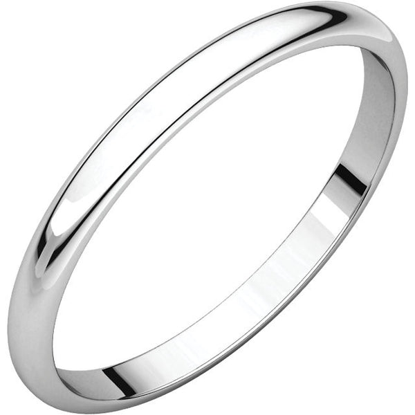 14k White Gold 2mm Wedding Ring Band Half Round Light