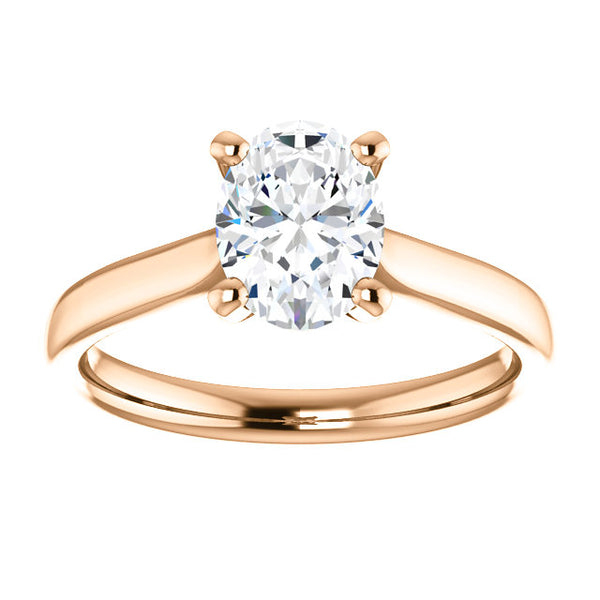 14k Rose Gold 1 CT Carat Oval Diamond Solitaire Engagement Ring