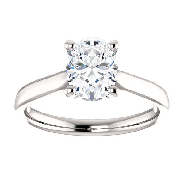 14k White Gold 1 CT Carat Oval Diamond Solitaire Engagement Ring