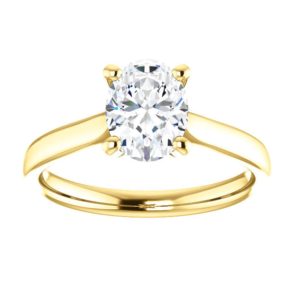 14k Yellow Gold 1 CT Carat Oval Diamond Solitaire Engagement Ring