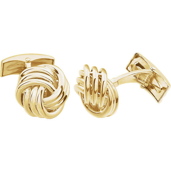 14k Yellow or White Gold 15mm Knot Cufflinks Cuff Links