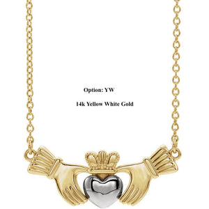 Platinum or 14k Yellow Rose White Gold or Sterling Silver Claddagh Necklace