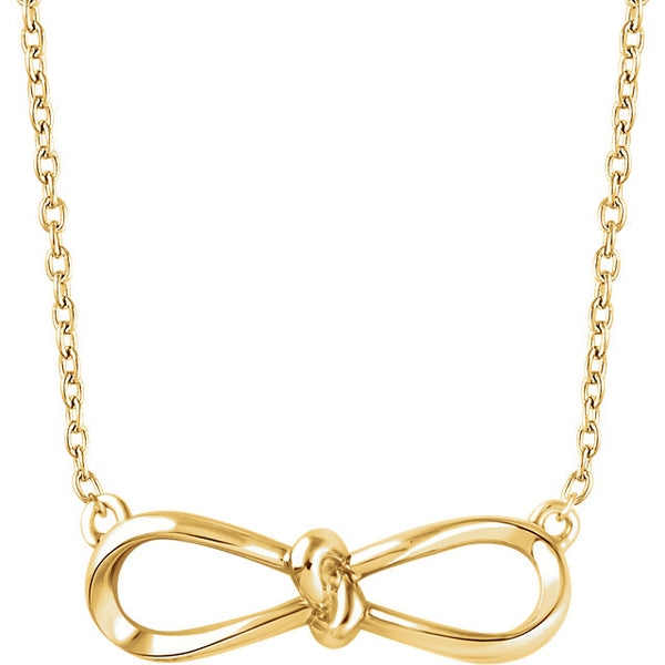 14k Yellow White Rose Gold or Sterling Silver Infinity Knot Necklace