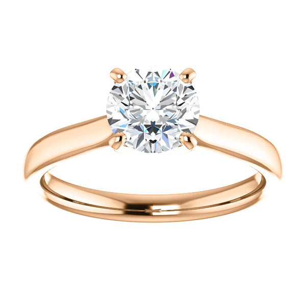 18k Rose Gold 1 CT Carat Round Diamond Solitaire Engagement Ring
