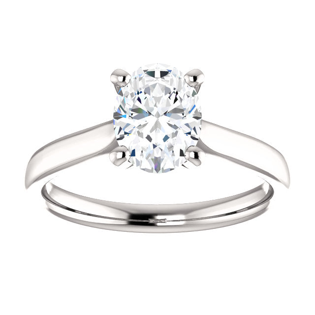 18k White Gold 1 CT Carat Oval Diamond Solitaire Engagement Ring