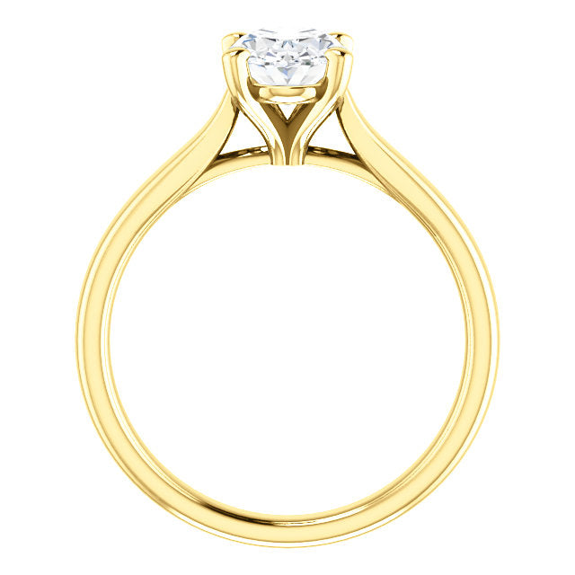 18k Yellow Gold 1 CT Carat Oval Diamond Solitaire Engagement Ring
