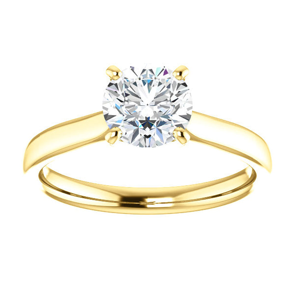 18k Yellow Gold 1 CT Carat Round Diamond Solitaire Engagement Ring