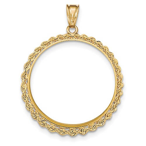 14K Yellow Gold 1 oz or One Ounce American Eagle Coin Holder Holds 32.6mm x 2.8mm Coin Prong Bezel Rope Edge Pendant Charm