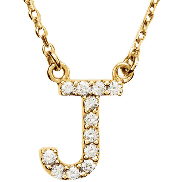 14k Gold 1/8 CTW Diamond Alphabet Initial Letter J Necklace