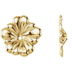 14k Yellow Gold Flower Floral Earring Jackets 11mm