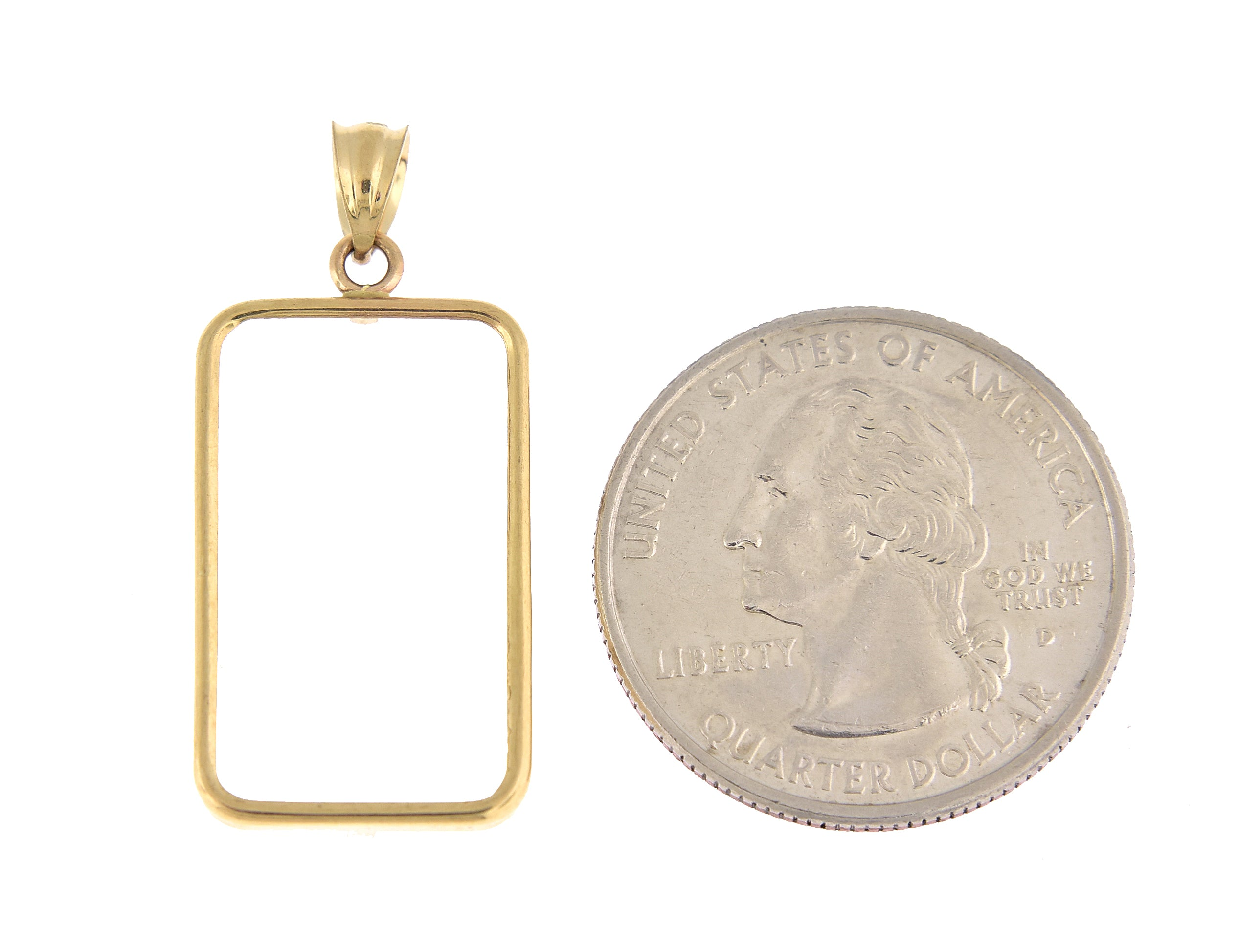 14K Yellow Gold Holds 23.5mm x 14mm Coins or Credit Suisse 5 gram Mounting Holder Pendant