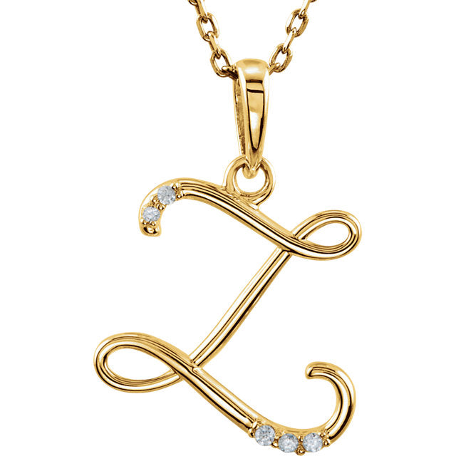 14k Gold or Sterling Silver .03 CTW Diamond Script Letter Z Initial Necklace