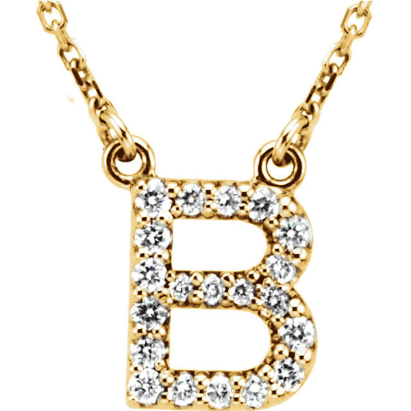 14k Gold 1/6 CTW Diamond Alphabet Initial Letter B Necklace