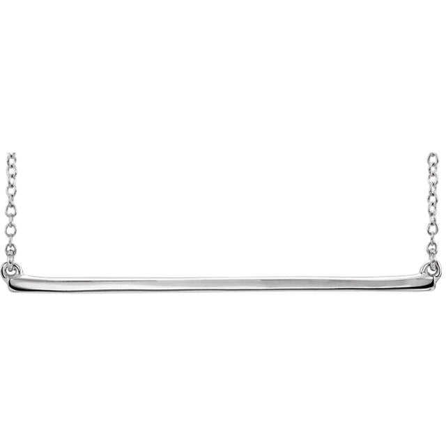 14k Yellow Rose White Gold Sterling Silver Straight Bar Necklace