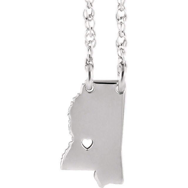 14k Gold 10k Gold Silver Mississippi State Heart Personalized City Necklace
