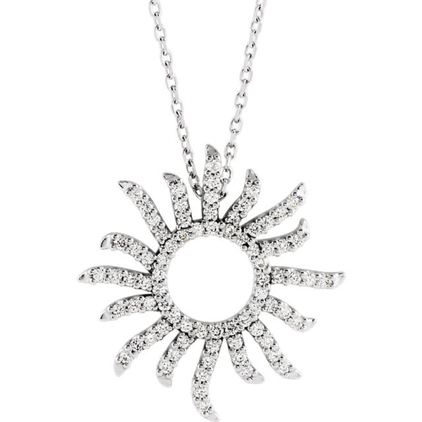 14K White Gold 3/8 CTW Diamond Sunburst Pendant Charm Necklace