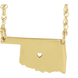 14k Gold 10k Gold Silver Oklahoma State Heart Personalized City Necklace