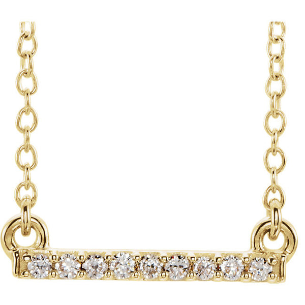 14k Yellow White Rose Gold Petite .07 CTW Diamond Bar Necklace