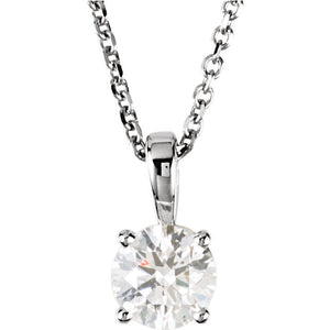 14k White Gold 3/4 CTW Diamond Solitaire Necklace 18 inch