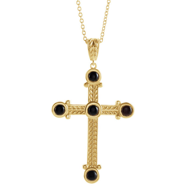 Platinum 14k Yellow Rose White Silver Genuine Onyx Cross Pendant Charm Necklace