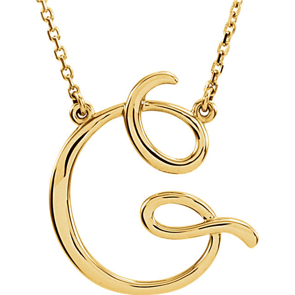 14k Gold or Sterling Silver Script Letter G Initial Alphabet Necklace