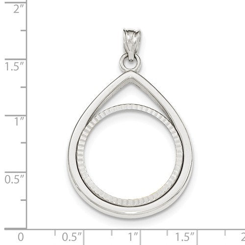 14K White Gold 1/4 oz or One Fourth Ounce American Eagle Teardrop Coin Holder Holds 22mm x 1.8mm Coin Prong Bezel Diamond Cut Pendant Charm