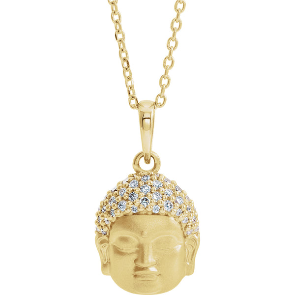 Platinum 14k Yellow Rose White Gold Sterling Silver Diamond Buddha Pendant Charm Necklace