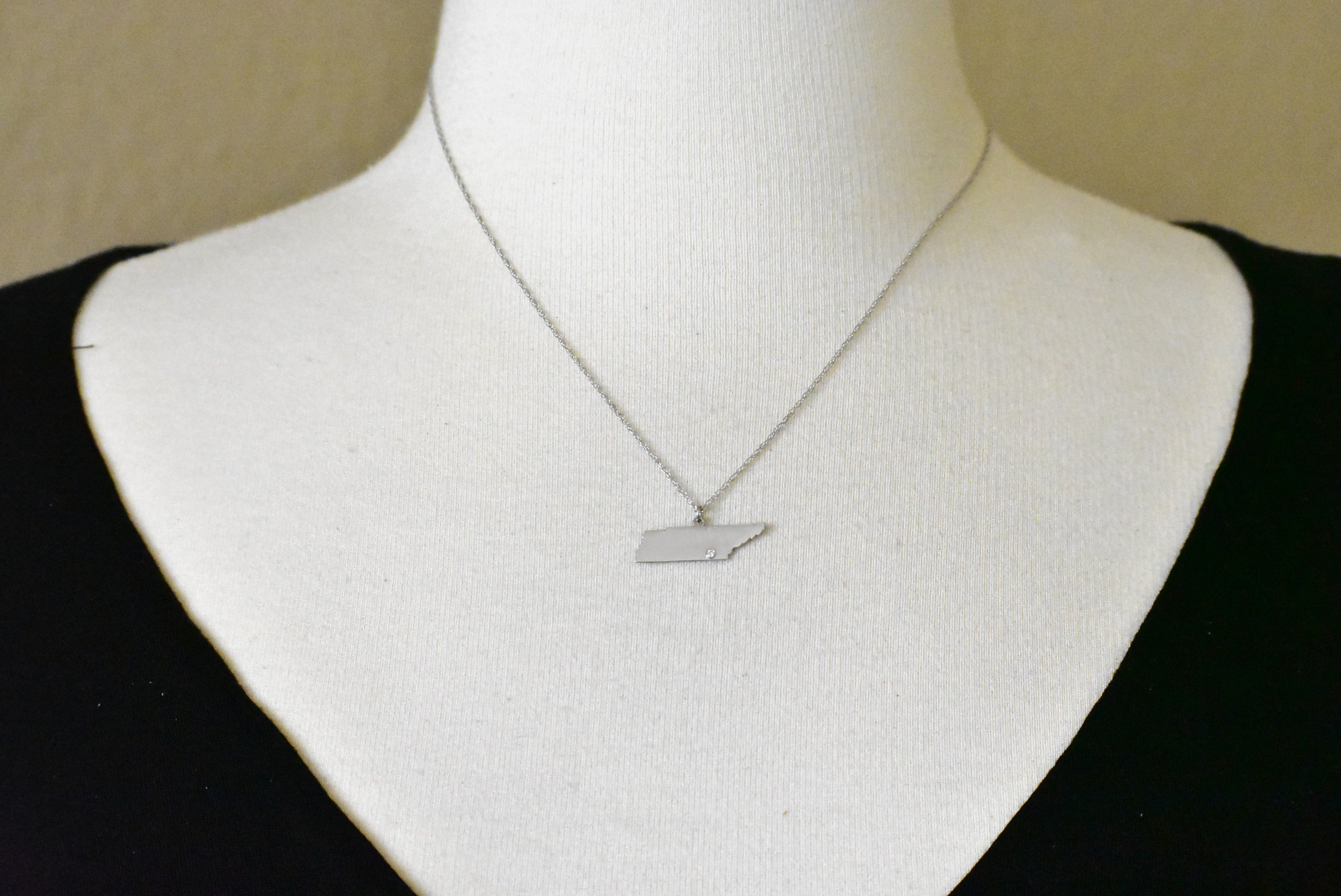 14k Gold 10k Gold Silver Tennessee TN State Map Diamond Personalized City Necklace