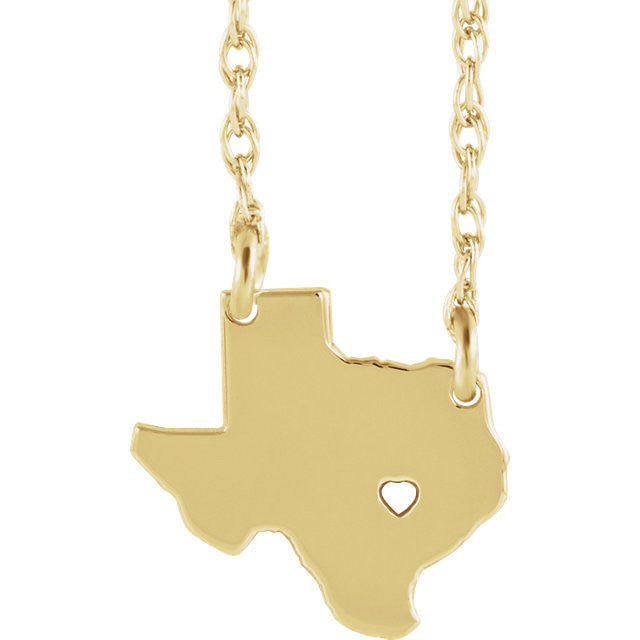 14k Gold 10k Gold Silver Texas State Heart Personalized City Necklace