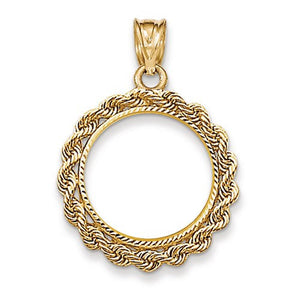 14K Yellow Gold 110 oz or One Tenth Ounce American Eagle Coin Holder Prong Bezel Rope Edge Pendant Charm LKQBA110AE