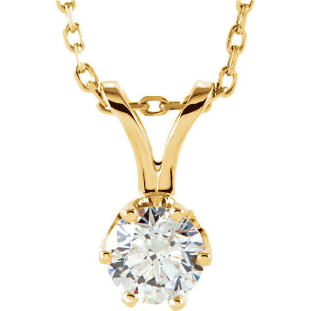 14k Yellow Gold 1/3 CTW Diamond Solitaire Necklace 18 inch