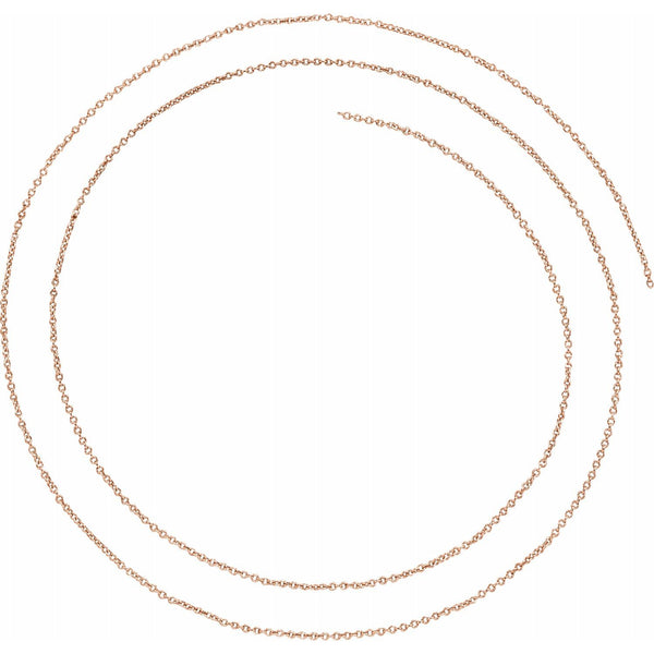 14k Rose Gold 1mm Cable Bracelet Anklet Choker Necklace Pendant Chain Custom Length
